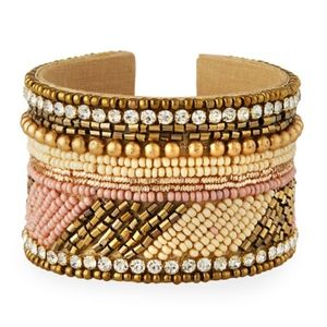 New Panacea Bead & Crystal Cuff Bracelet